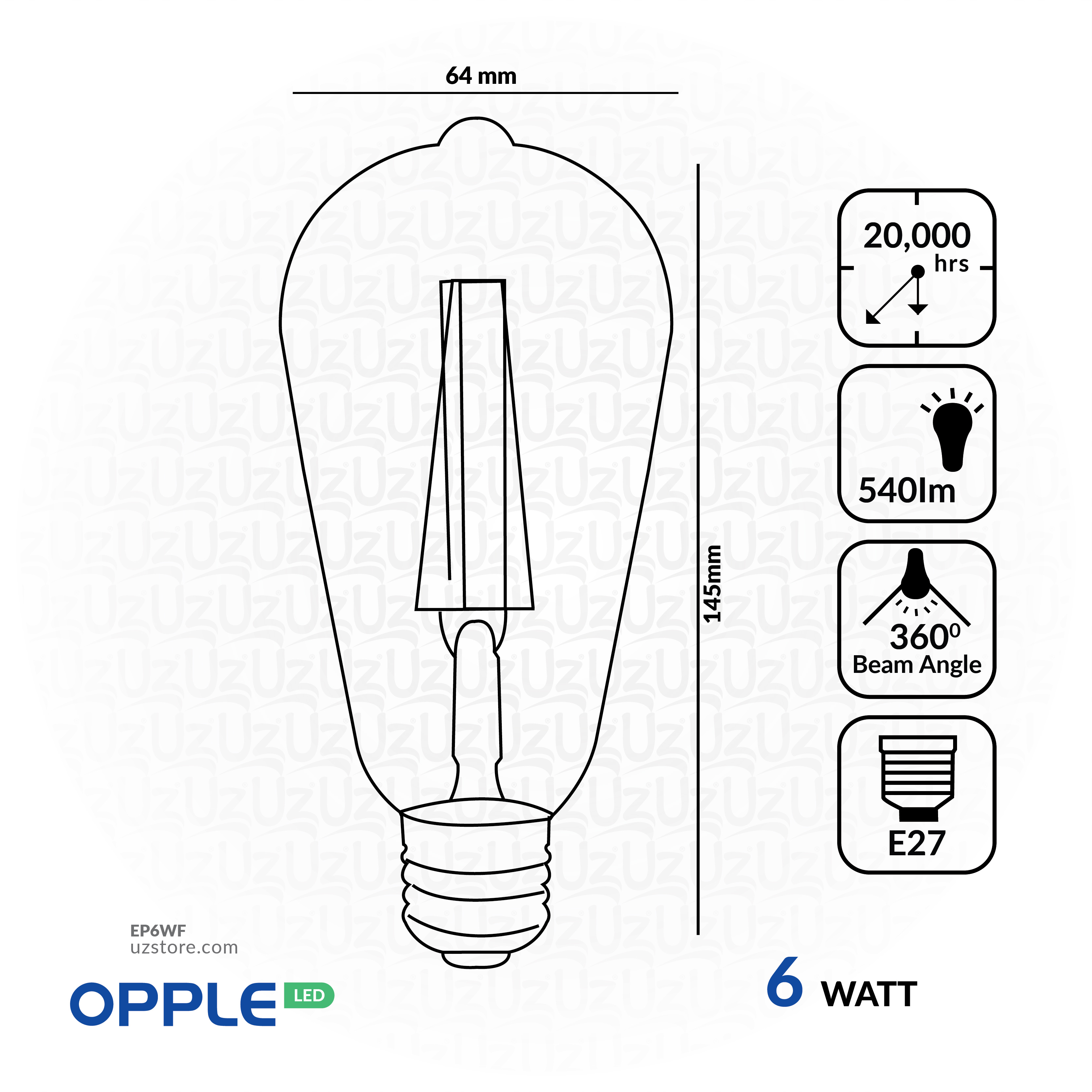 OPPLE LED Filament Lamp 6W Warm White E27