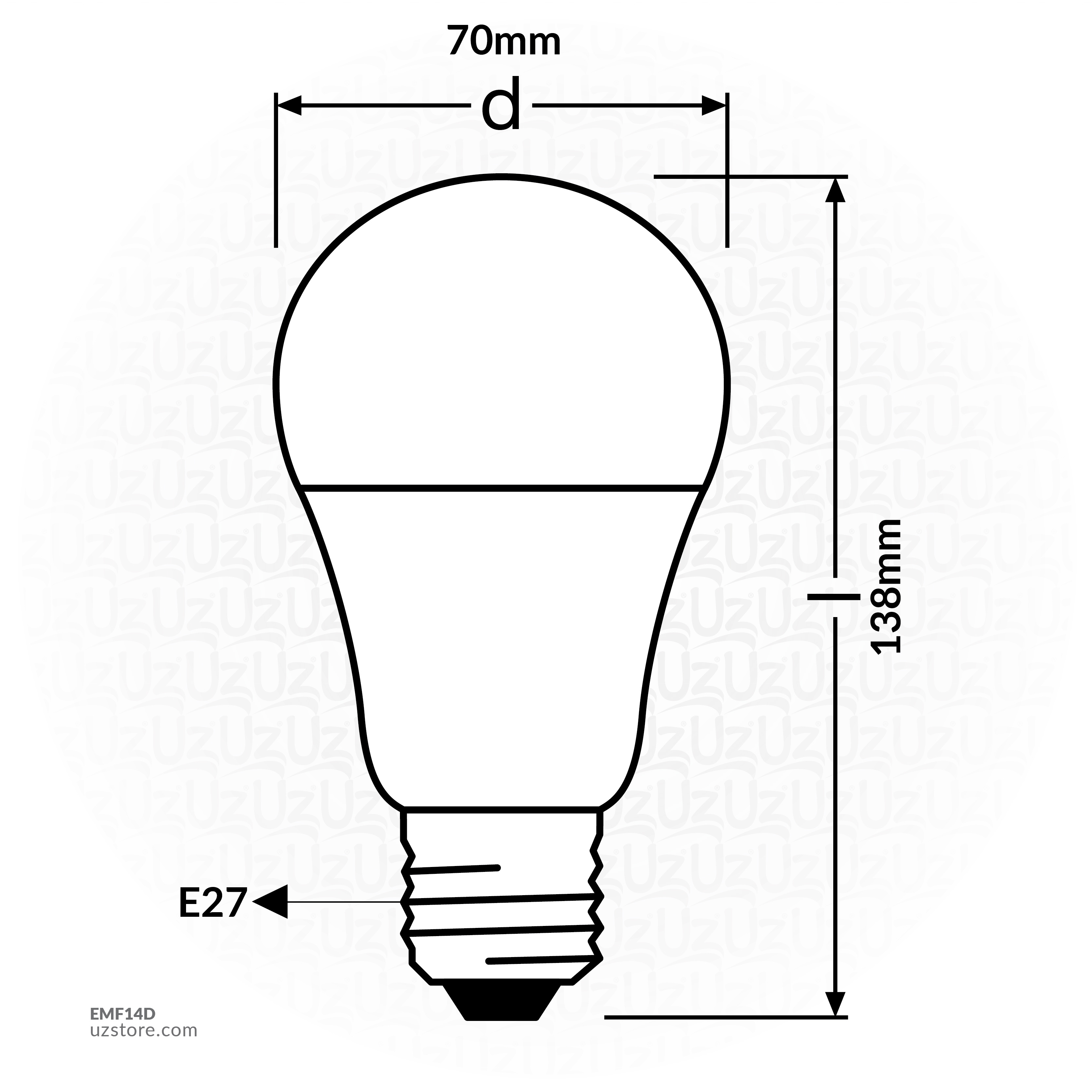 Osram Lamb FIGHTER SERIES 14W, E27, CLAS A LED GLS, 3000K, NON- DIMMABLE