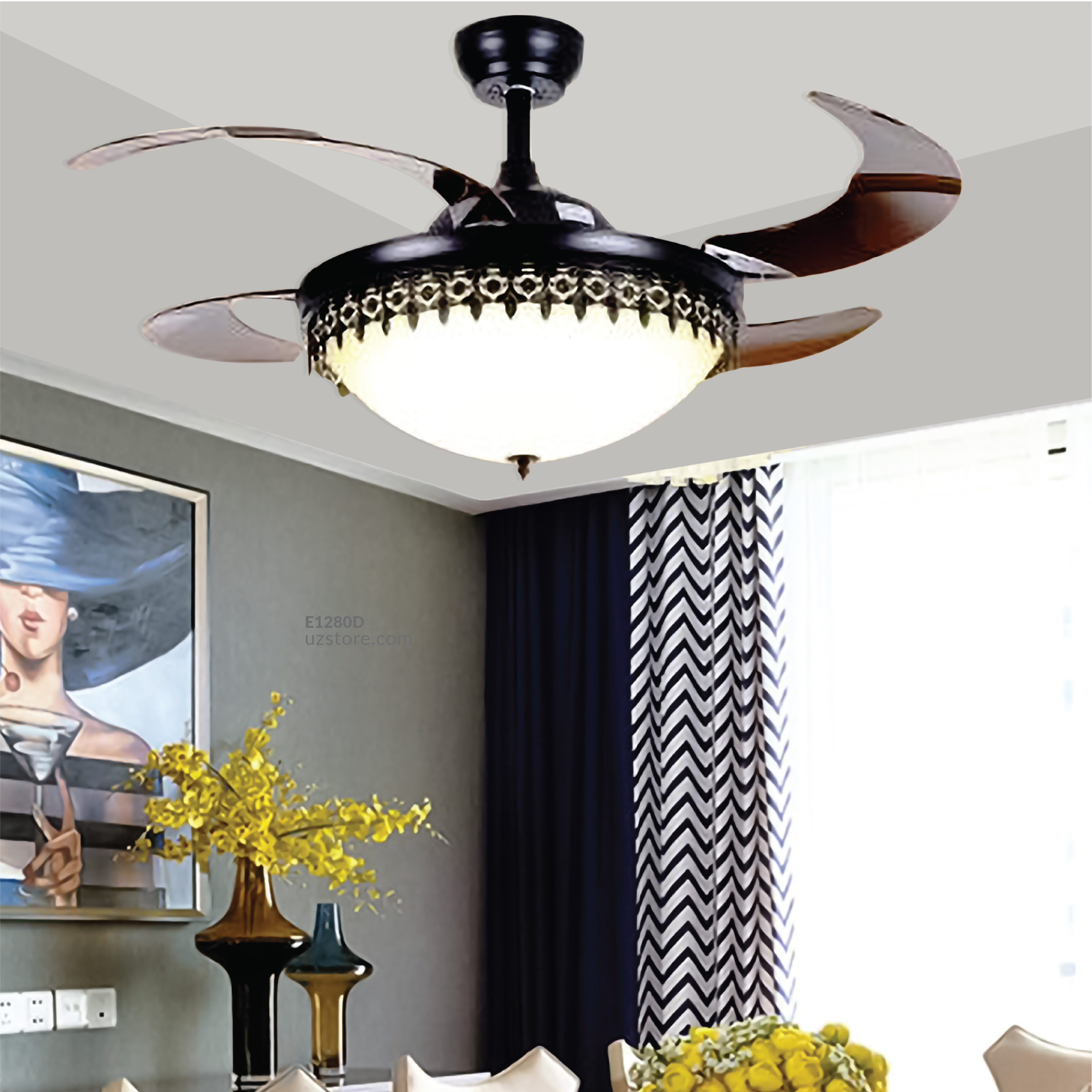 Decorative Fan With LED 3073-F42-3131