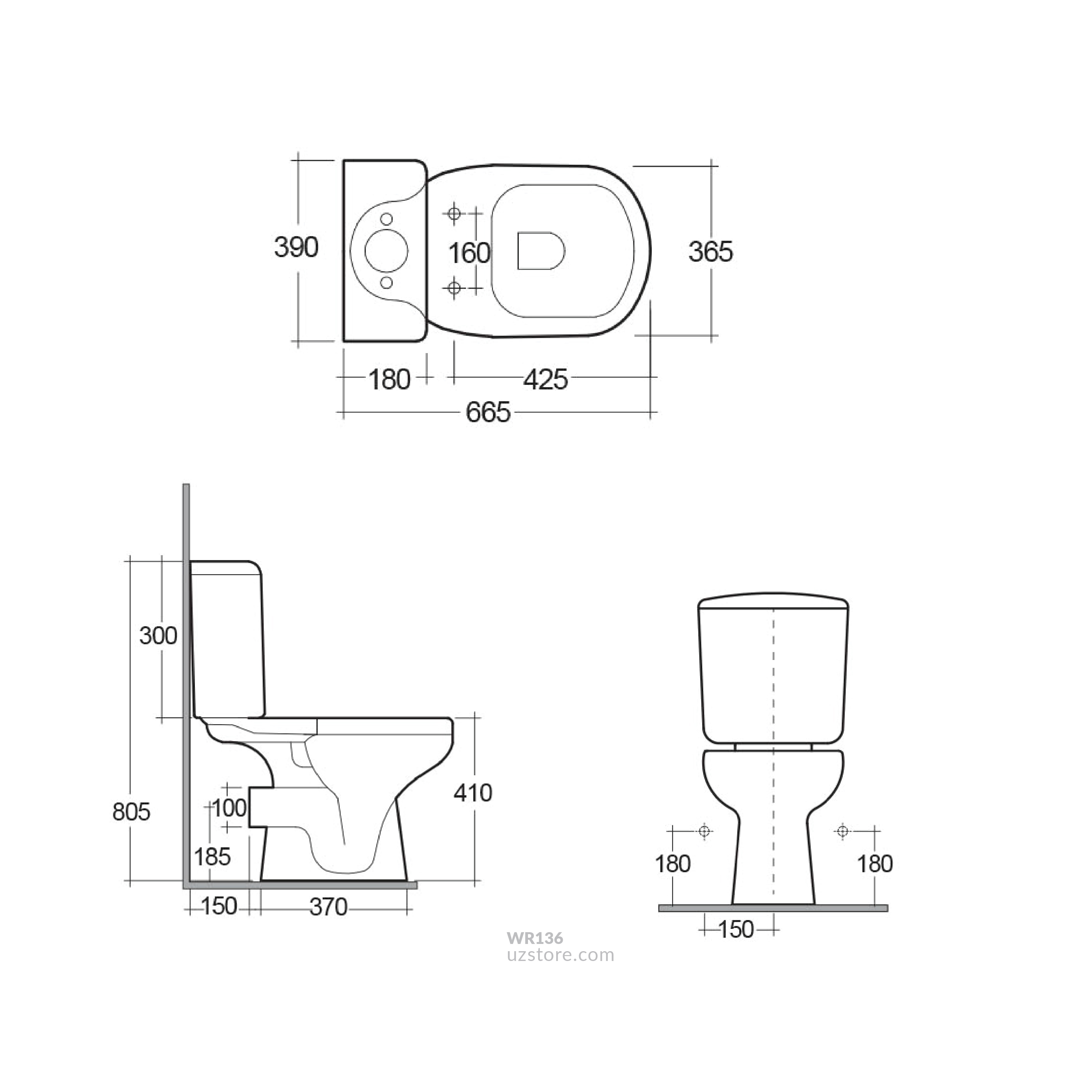 RAK - LIWA Water Closet Strap + Flush Tank & Seat Cover