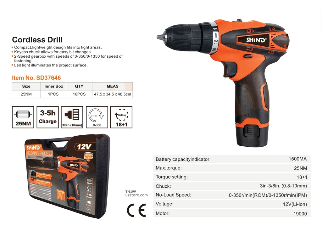 Shind - CD5818 Cordless hand drill/electric screwdriver 37646