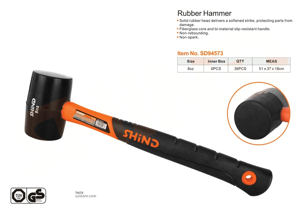 Shind - 8OZ rubber hammer with plastic handle 94573