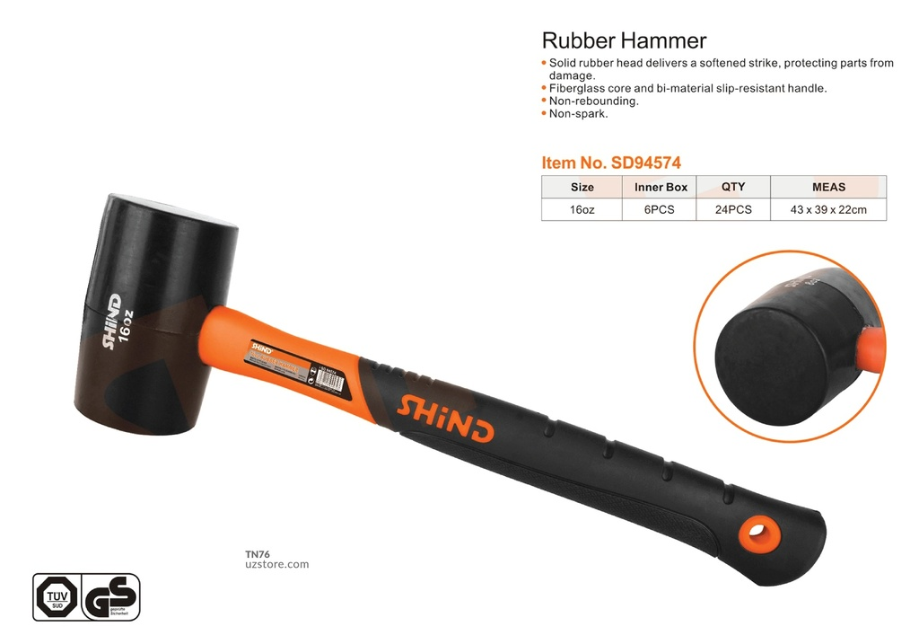 Shind - 16OZ rubber hammer with plastic handle 94574