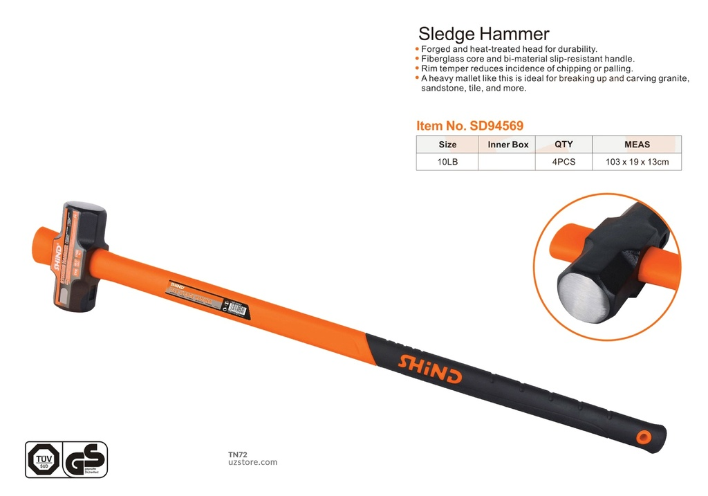 Shind - 10lb sledge hammer with plastic handle 94569