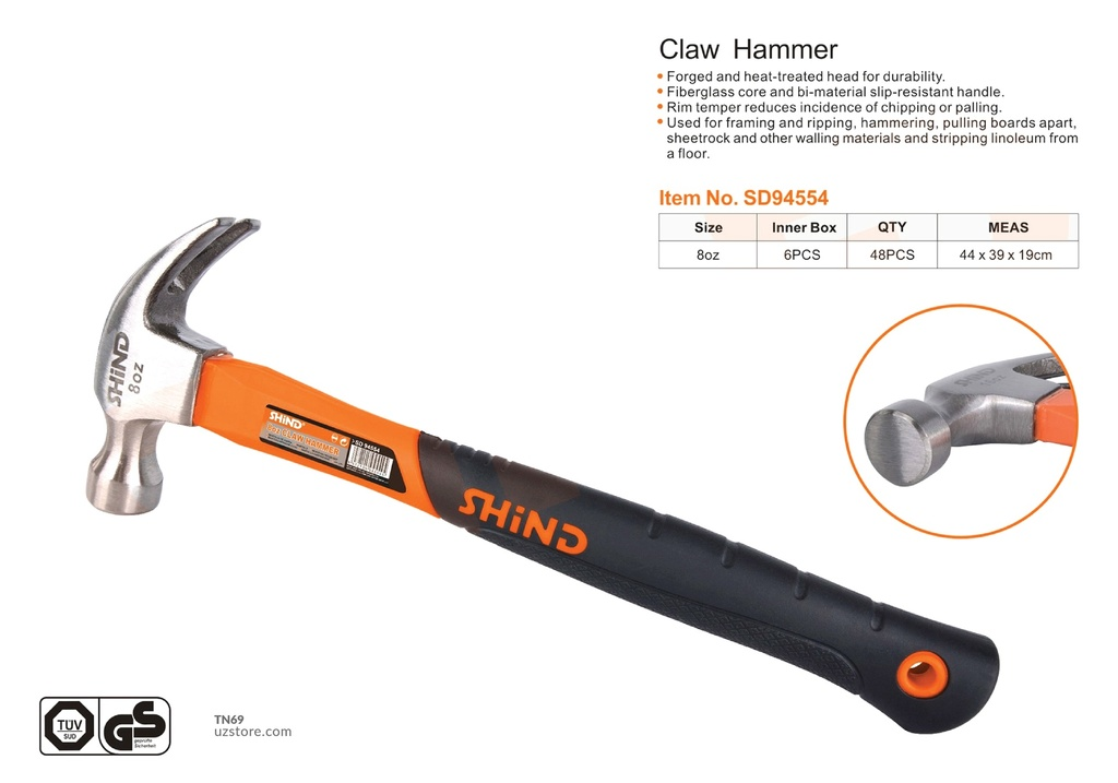 Shind - 8OZ claw hammer with plastic handle 94554