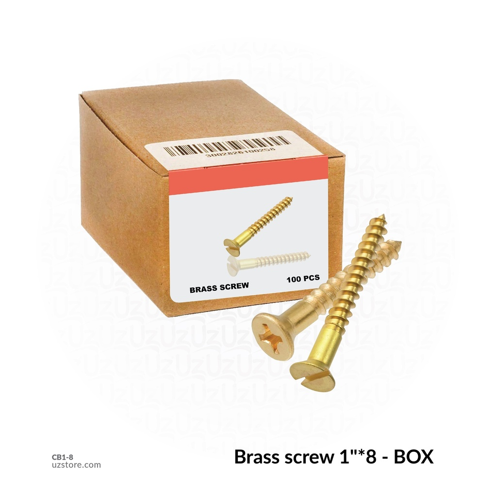 "Brass screw 1""*8 - BOX"
