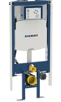 Geberit Duofix element for wall hung WC 145cm, with Alpha concealed cistern 8cm flush Tank with push button 458.175.00.1+115.045.21.1