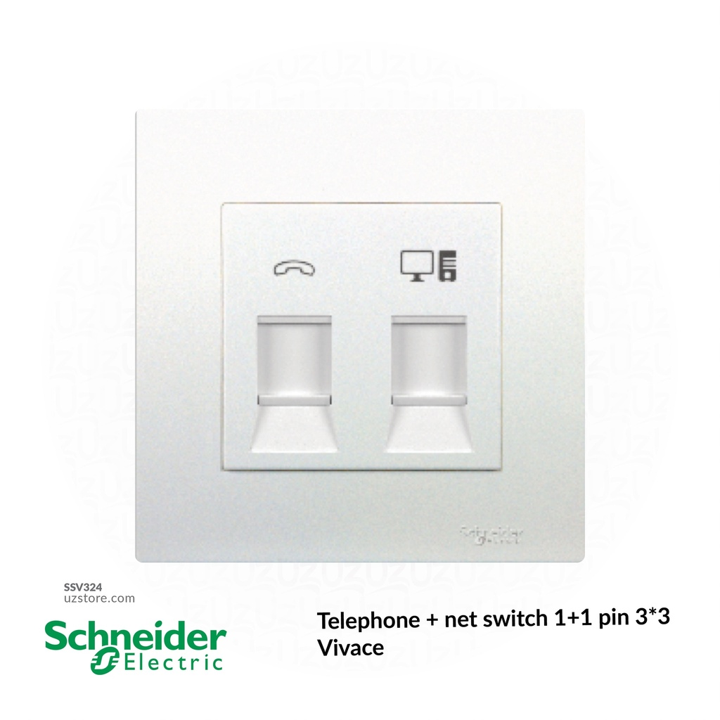 Telephone + net switch 1+1 pin 3*3 Schneider Vivace