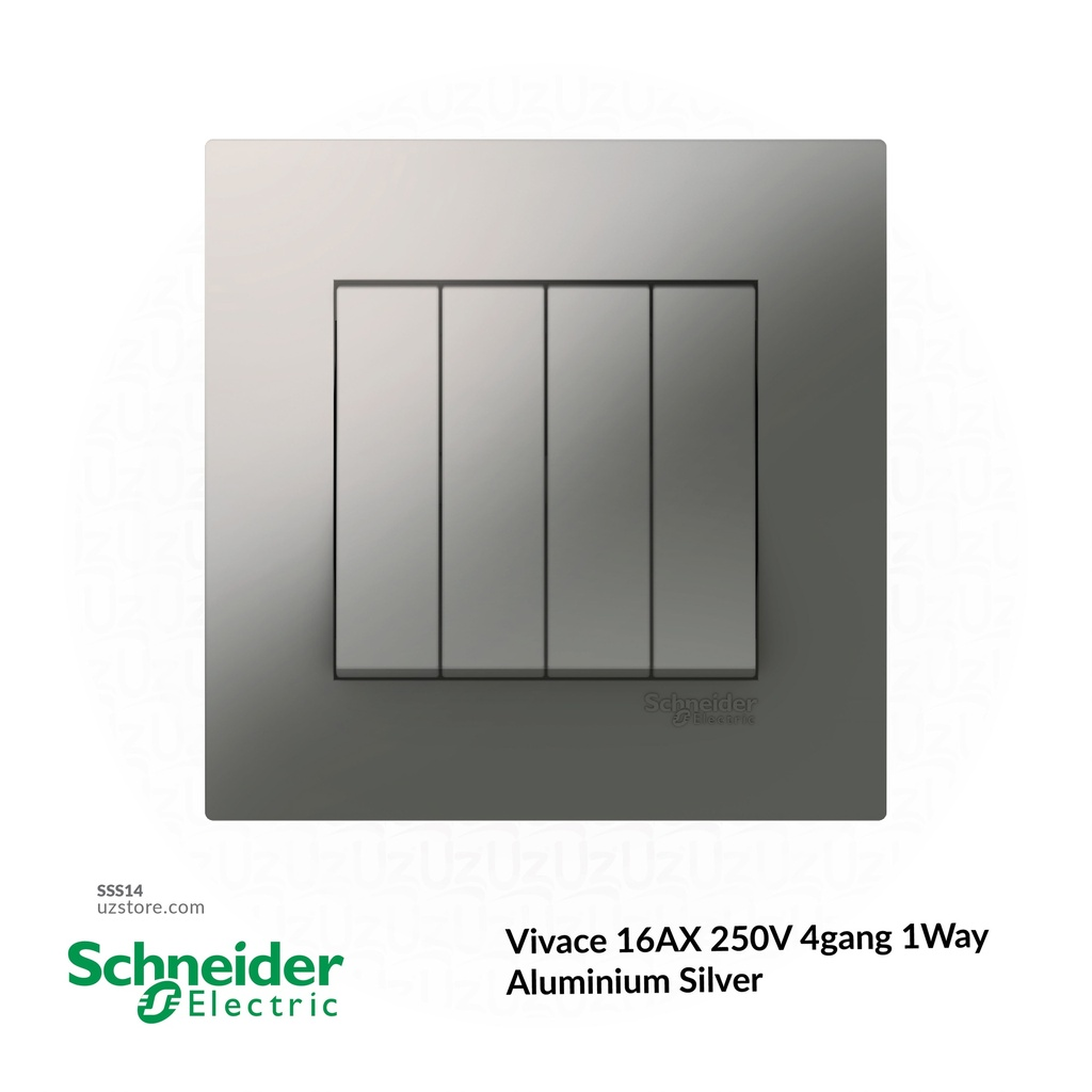 4 gang switch 3*3 1way Schneider Alu. Sliver