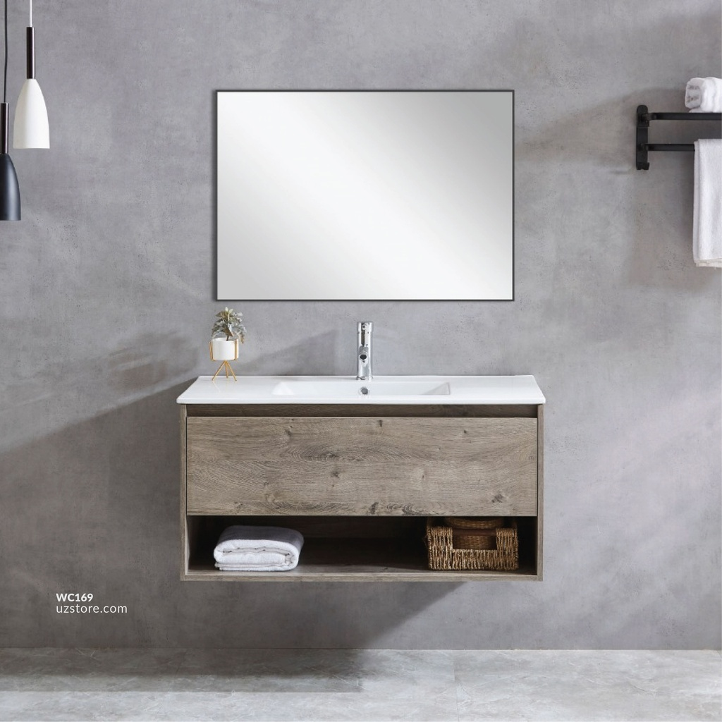 Milano Ash Oak WashBasin Cabinet (60CM) With Side Cabinet