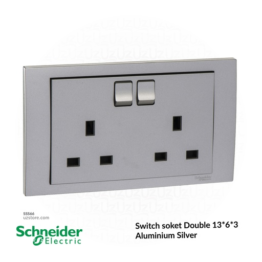 [SSS66] Switch soket Double 13*6*3 Schneider Alu. Sliver