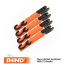 Shind - 4pcs ratchet tensioner with 2 S hooks 25m*5m 37546